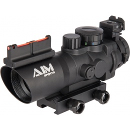 AIM Sports Prismatic Series 4x32 Tri-Illuminated Scope w/ Fiber Optic Sight