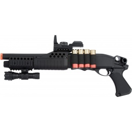 AGM Airsoft M180A2 Sawed Off Shell-Fed Shotgun w/ Tactical Flashlight
