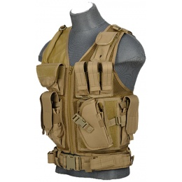 Lancer Tactical Nylon Airsoft Cross Draw Vest w/ Holster - KHAKI