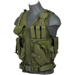 Lancer Tactical Nylon Airsoft Cross Draw Vest w/ Holster - OD GREEN