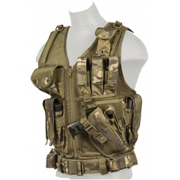Lancer Tactical Nylon Airsoft Cross Draw Vest w/ Holster - CAMO TROPIC
