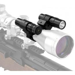 NcStar Double Scope Rail Adapter w/ Green Laser & LED Flashlight Combo