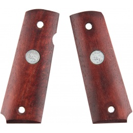 Double Bell M1911 Dark Wood Airsoft Pistol Grip Plates