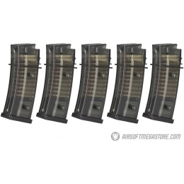 ARES 5 Pack 140 Round Mid Capacity Airsoft G36 Magazines - BLACK