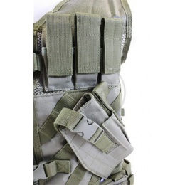 NcStar Military Cross Draw Tactical Vest w/ Holster - OD GREEN