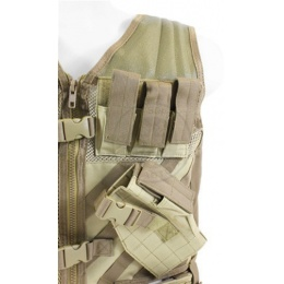 NcStar Military Cross Draw Tactical Vest w/ Integrated Holster - Tan