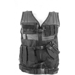 NcStar Military Cross Draw Vest w/ Integrated Holster - BLACK 2XL-3XL