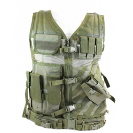 NcStar Airsoft 2XL - 3XL Cross Draw Tactical Vest w/ Holster - OD