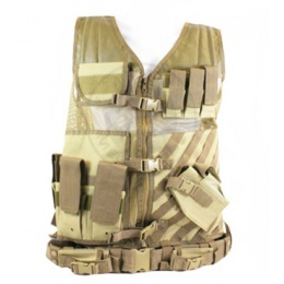 NcStar Military Cross Draw Vest w/ Integrated Holster - TAN 2XL-3XL