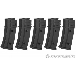ARES 5-Pk 30 Rd  Lightweight Low Capacity Airsoft G36 Magazines - BLACK