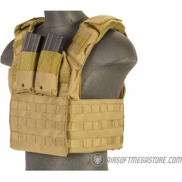 Lancer Tactical 1000D Speed Attack MOLLE Plate Carrier V2 - TAN