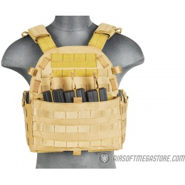 Lancer Tactical 1000D Nylon Airsoft MOLLE Plate Carrier - TAN