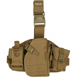 Lancer Tactical 1000D Nylon MOLLE Platform Dropleg Holster - TAN
