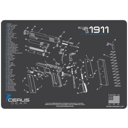 Cerus Gear Schematics for 1911 Promat Pistol Mat - GRAY
