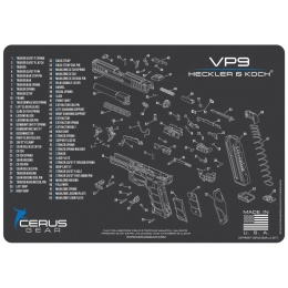 Cerus Gear Schematics for H&K VP9 Promat Pistol Mat - GRAY