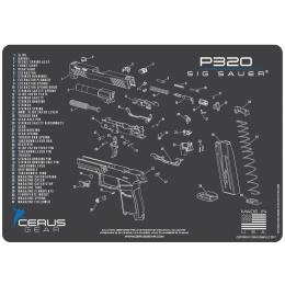 Cerus Gear Schematics for Sig Sauer P320 Promat Pistol Mat - GRAY