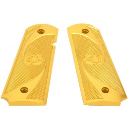 Airsoft Masterpiece Aluminum Airsoft 1911 Type 2 Pistol Grip Plates - GOLD