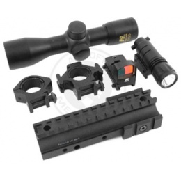 NcStar Tri-Mount 4x30 Scope Combo w/  Micro Red Dot and Flashlight