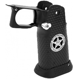 Airsoft Masterpiece Aluminum Grip for Hi-Capa Airsoft Pistols Texas Rangers Type 5 - BLACK