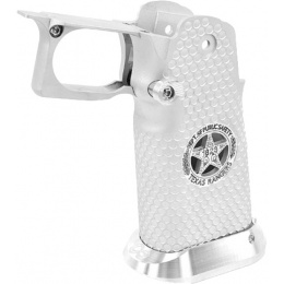 Airsoft Masterpiece Aluminum Grip for Hi-Capa Airsoft Pistols Texas Rangers Type 5 - SILVER