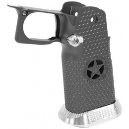 Airsoft Masterpiece Aluminum Grip for Hi-Capa Airsoft Pistols Texas Rangers Type 5 - TITANIUM GRAY