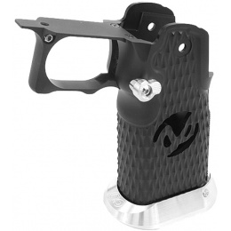 Airsoft Masterpiece Aluminum Grip for Hi-Capa Airsoft Pistols Type 8 - BLACK/SILVER