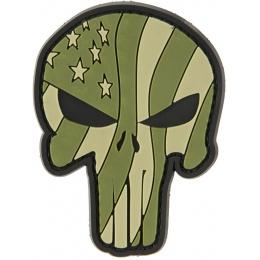 G-Force Punisher Flag - GREEN Waving US Flag Punisher PVC Morale Patch