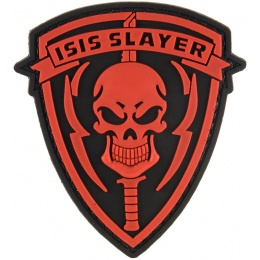 G-Force ISIS SLAYER Knife and Skull PVC Morale Patch - RED
