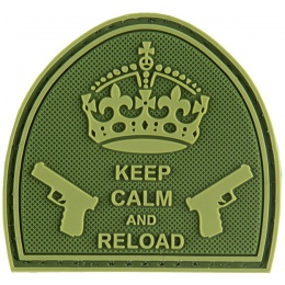 G-Force Keep Calm and Reload PVC Morale Patch - OD GREEN