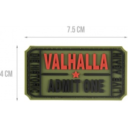 G-Force Valhalla Admit One PVC Morale Patch - OD GREEN