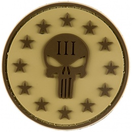 G-Force Punisher Three Percenter Round PVC Morale Patch - TAN