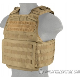 Lancer Tactical Battle 1000D Nylon MOLLE Plate Carrier - TAN