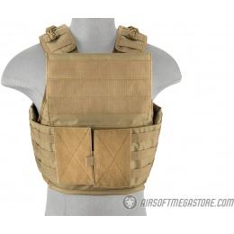 Lancer Tactical Battle 1000D Nylon MOLLE Plate Carrier - TAN