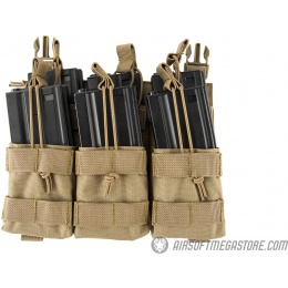 Lancer Tactical Adaptive Hook and Loop Triple Dual Mag Pouch - TAN