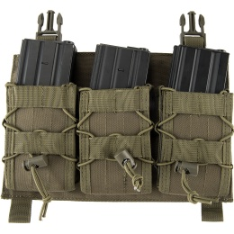 Lancer Tactical Adaptive Hook and Loop Triple AR Mag Pouch - OD GREEN