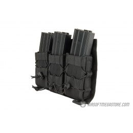 Lancer Tactical Adaptive Hook and Loop Triple AR Mag Pouch - BLACK