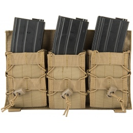 Lancer Tactical Adaptive Hook and Loop Triple AR Mag Pouch - TAN