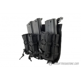 Lancer Tactical Adaptive Hook and Loop Triple M4/Pistol Mag Pouch - BLACK