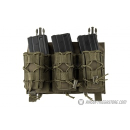 Lancer Tactical Adaptive Hook and Loop Triple M4/Pistol Mag Pouch - OD GREEN