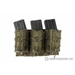 Lancer Tactical 1000D Nylon MOLLE 2-in-1 Triple M4/Pistol Mag Pouch - OD GREEN