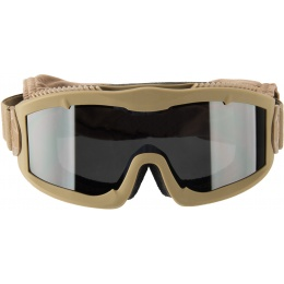 Lancer Tactical AERO Protective Tan Airsoft Goggles - SMOKE LENS
