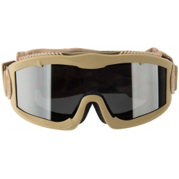 Lancer Tactical AERO Protective Tan Airsoft Goggles - SMOKE/YELLOW/CLEAR LENS