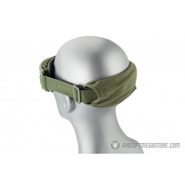 Lancer Tactical AERO Protective OD Green Airsoft Goggles - SMOKE/YELLOW/CLEAR LENS