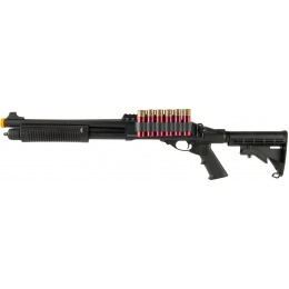 JAG Arms Scattergun TSS Airsoft Gas Shotgun w/ Side Saddle - BLACK
