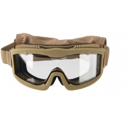 Lancer Tactical AERO Protective Tan Airsoft Goggles - CLEAR LENS