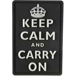 G-Force Keep Calm and Carry On PVC Morale Patch - BLACK