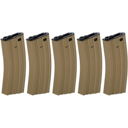 Lancer Tactical 300rd High Capacity Metal AEG Gen 2 [5X Pack] - TAN