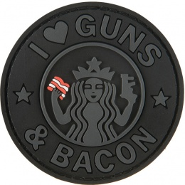G-Force I Love Guns and Bacon PVC Morale Patch - BLACK