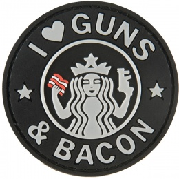 G-Force I Love Guns and Bacon PVC Morale Patch - BLACK / WHITE