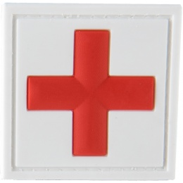 G-Force Cross Medic Patch PVC Morale Patch - WHITE/RED